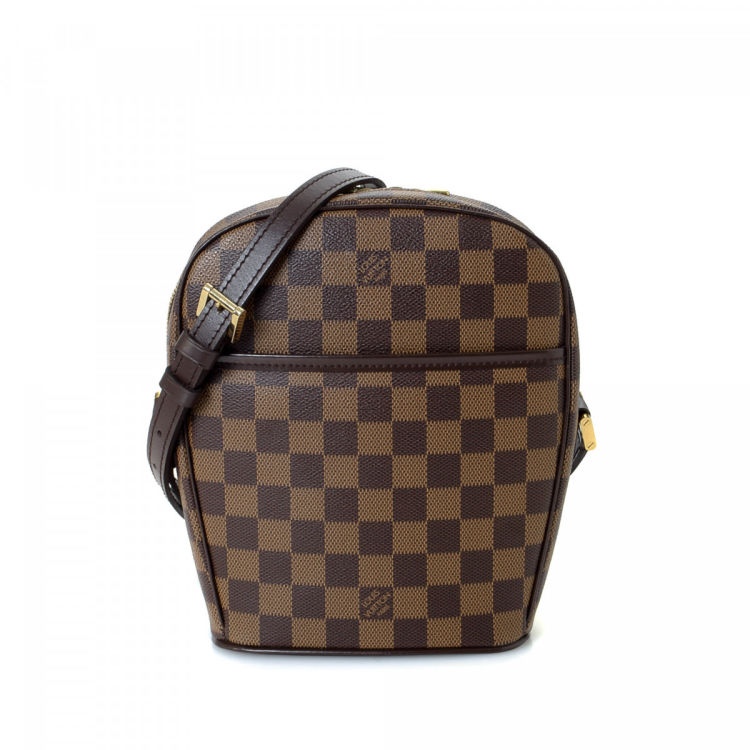 7496c9217ae12 ... vintage Louis Vuitton Ipanema PM messenger   crossbody bag. This  sophisticated satchel in beautiful brown is made in damier ebene coated  canvas.