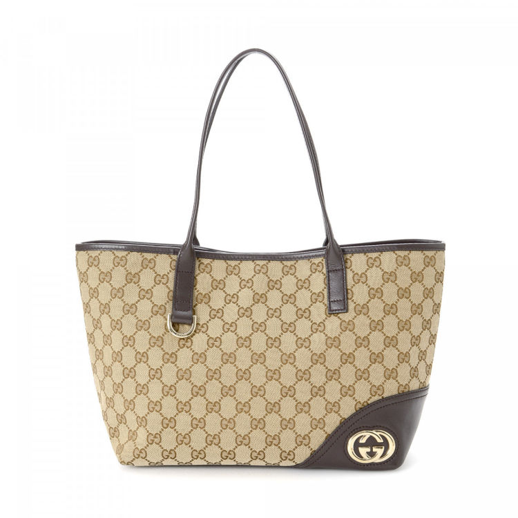 a6371b0d1 Gucci GG Canvas New Britt Tote GG Canvas - LXRandCo - Pre-Owned ...