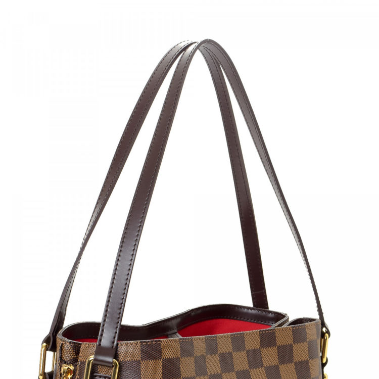 1a9e42da93513c LXRandCo guarantees this is an authentic vintage Louis Vuitton Cabas  Rivington shoulder bag. Crafted in damier ebene coated canvas, this lovely  satchel ...
