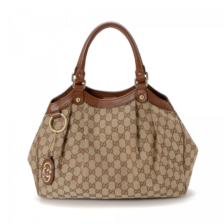 fe771ed4675 LXRandCo guarantees this is an authentic vintage Gucci Sukey tote. Crafted  in gg canvas