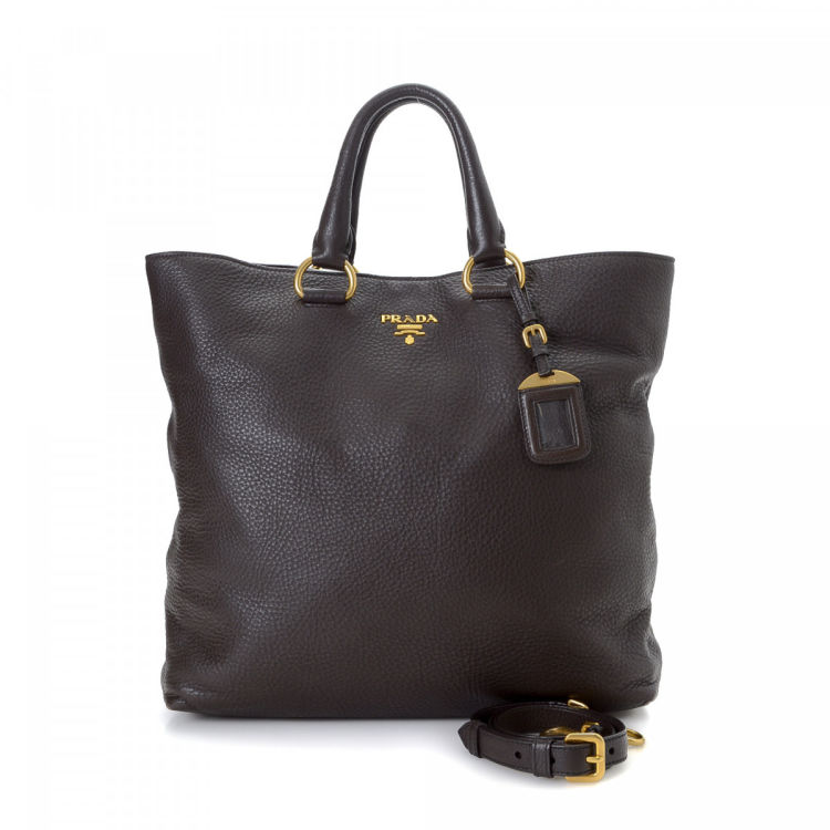 0700395cc0d4 Prada Two Way Tote Bag Cervo Leather - LXRandCo - Pre-Owned Luxury ...
