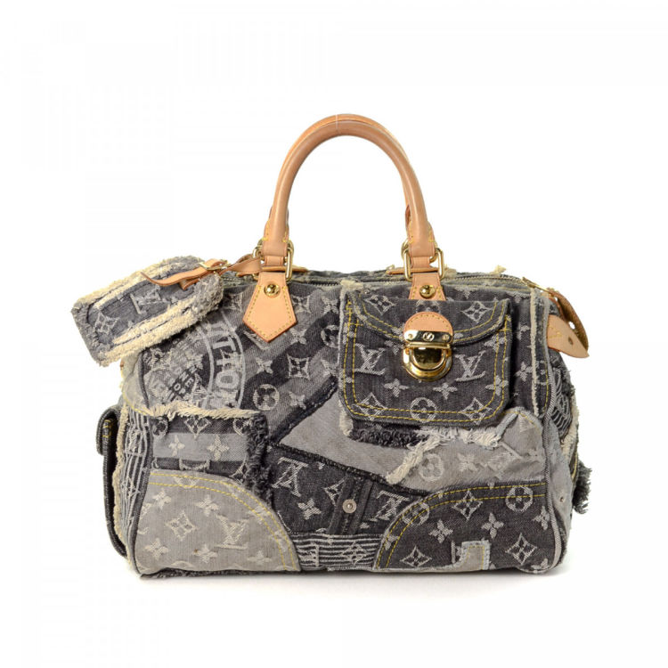 5a89496c7ee8 LXRandCo guarantees the authenticity of this vintage Louis Vuitton Denim  Patchwork Speedy 30 handbag. This elegant purse was crafted in canvas in  charcoal.
