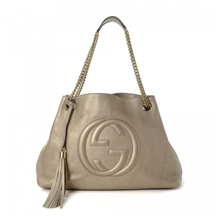 c87acd41819122 Gucci Soho Tote Leather - LXRandCo - Pre-Owned Luxury Vintage