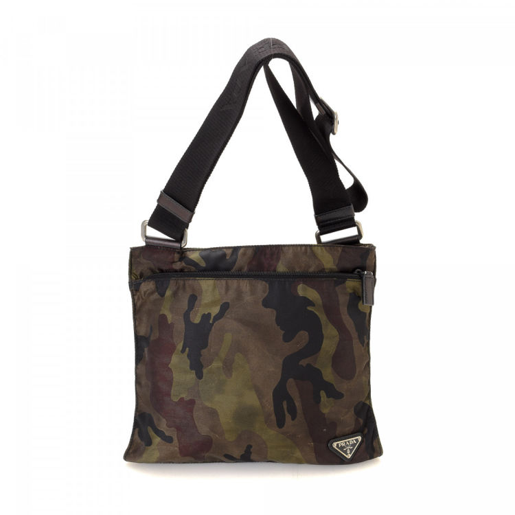 bb2f03ce52 LXRandCo guarantees the authenticity of this vintage Prada Camouflage  Crossbody Bag messenger   crossbody bag. Crafted in tessuto nylon