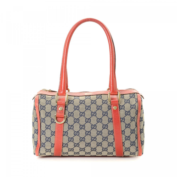 95d094077112 The authenticity of this vintage Gucci Abbey Boston Bag handbag is  guaranteed by LXRandCo. This iconic handbag was crafted in gg canvas in  beige.