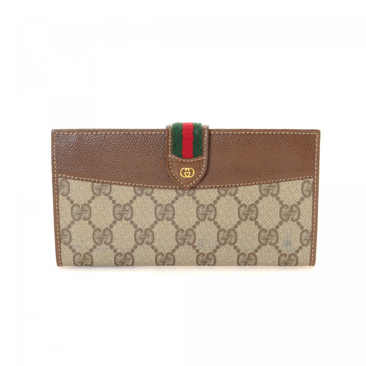 f0c0bf3b6d63a4 Gucci GG Supreme Web Continental Wallet GG Supreme Coated Canvas ...