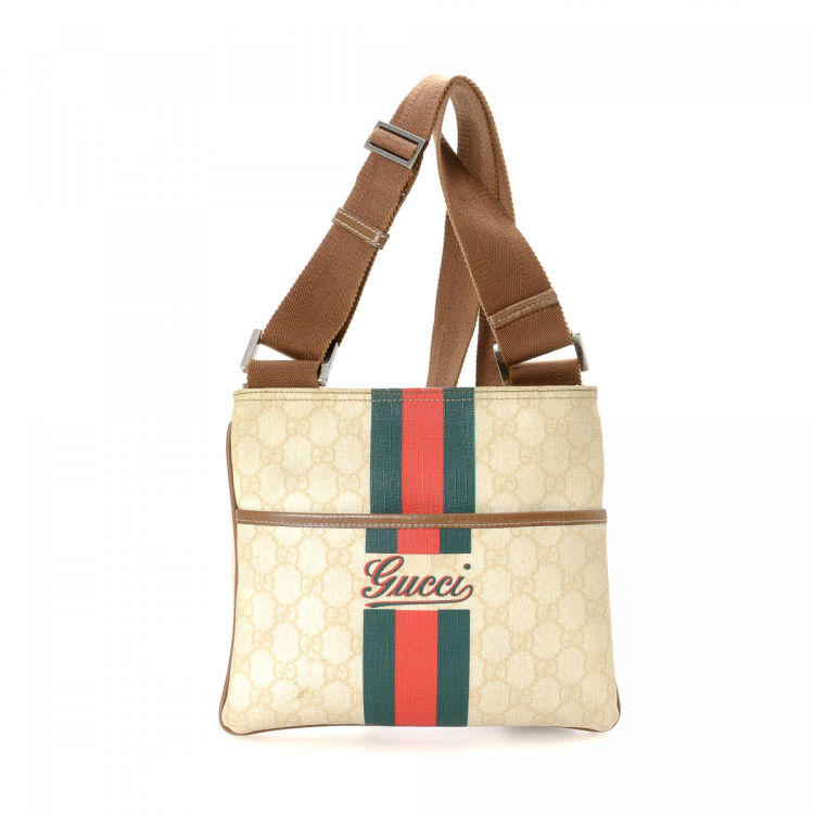 5f2d6b0dd1ada LXRandCo guarantees the authenticity of this vintage Gucci Crossbody Bag  messenger   crossbody bag. Crafted in gg supreme coated canvas