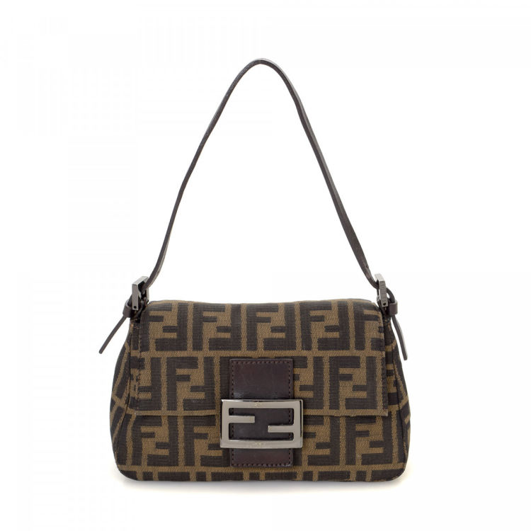 aaec992e6 LXRandCo guarantees this is an authentic vintage Fendi Mini Mamma Baguette  handbag. Crafted in zucca canvas, this stylish purse comes in beautiful  brown.