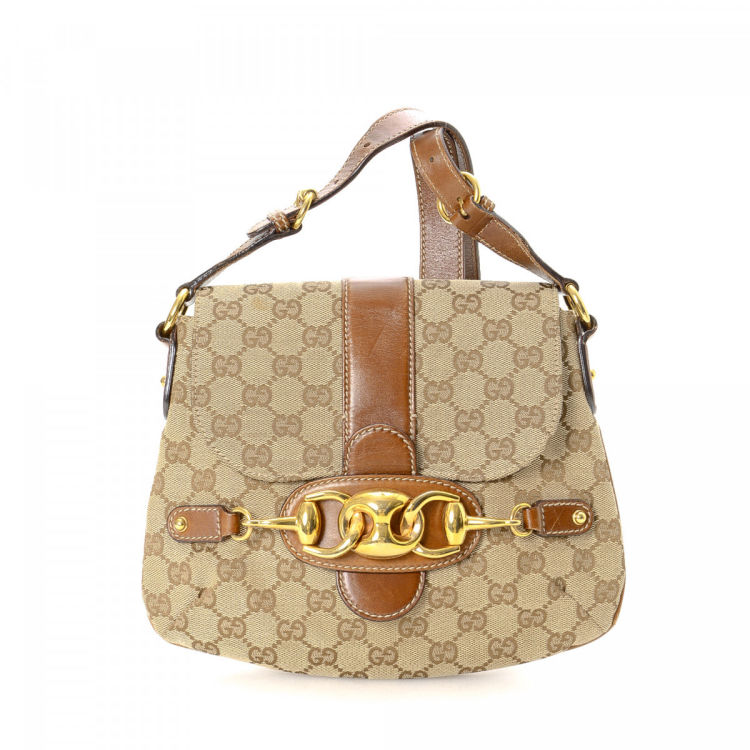84ceb4d45 Gucci GG Canvas Horsebit Shoulder Bag GG Canvas - LXRandCo - Pre ...