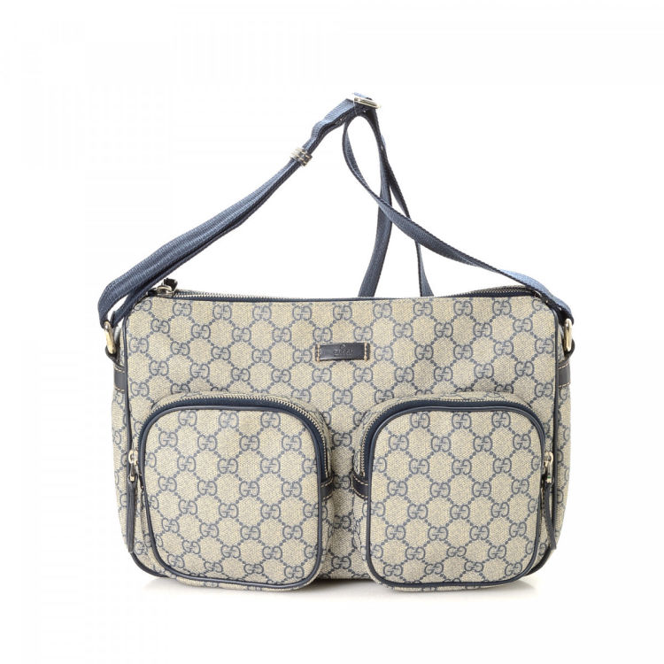 250c9f5d8bddb3 LXRandCo guarantees this is an authentic vintage Gucci Crossbody Bag  messenger & crossbody bag. This everyday satchel was crafted in gg supreme  coated ...
