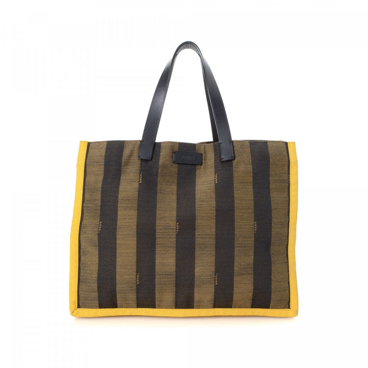 d2ff220881d5 LXRandCo guarantees this is an authentic vintage Fendi tote. This refined tote  bag in brown is made in pequin canvas. Due to the vintage nature of this ...