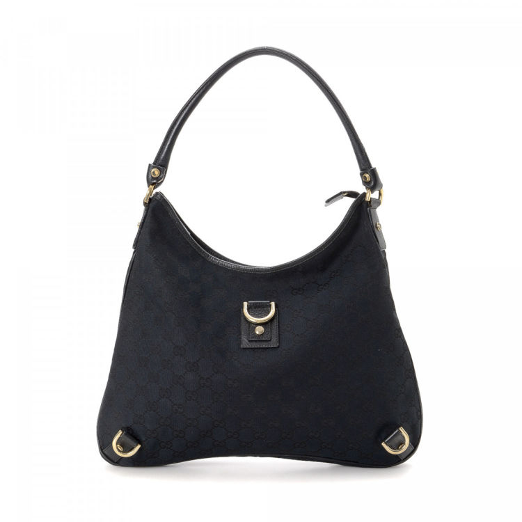 0fa2ef953908 LXRandCo guarantees this is an authentic vintage Gucci Abbey Hobo Bag  shoulder bag. This signature shoulder bag was crafted in gg canvas in black.