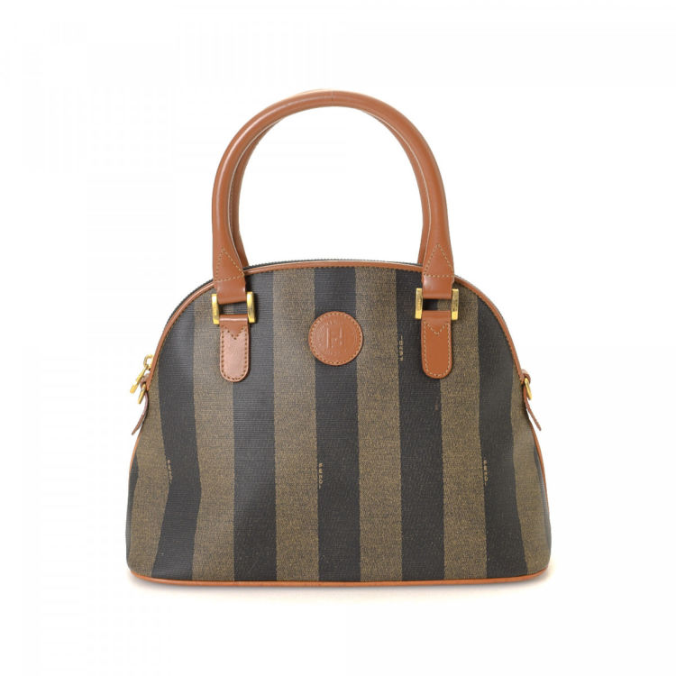 f462f931e0e1 Fendi Pequin Handbag Pequin Coated Canvas - LXRandCo - Pre-Owned ...
