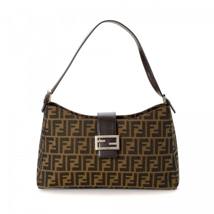 529a90b10791 LXRandCo guarantees the authenticity of this vintage Fendi shoulder bag.  Crafted in zucca canvas