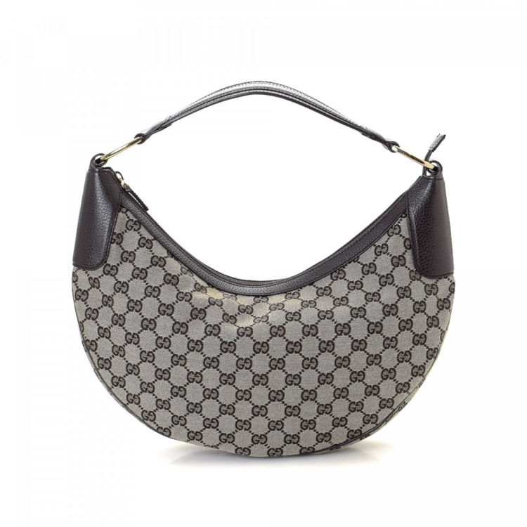 53704350c5f LXRandCo guarantees this is an authentic vintage Gucci Hobo Bag shoulder bag.  This exquisite satchel in beautiful dark brown is made in gg canvas.