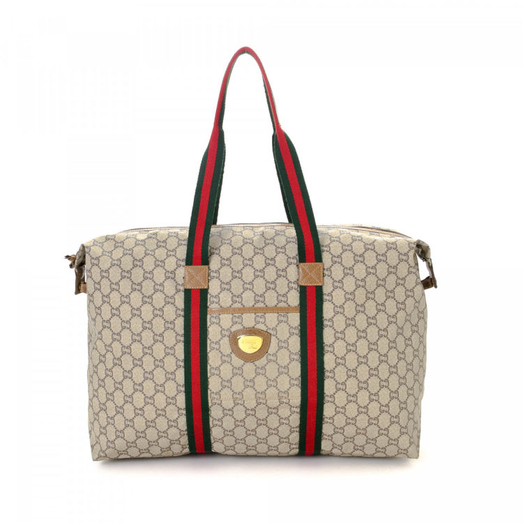 8aaccaff3f0 Gucci GG Plus Web Tote GG Plus Coated Canvas - LXRandCo - Pre-Owned ...