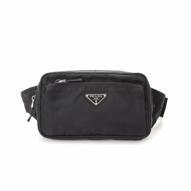 f673178c8c6f LXRandCo guarantees the authenticity of this vintage Prada Waist Pouch  vanity case & pouch. This stylish vanity case & pouch in black is made in  tessuto ...
