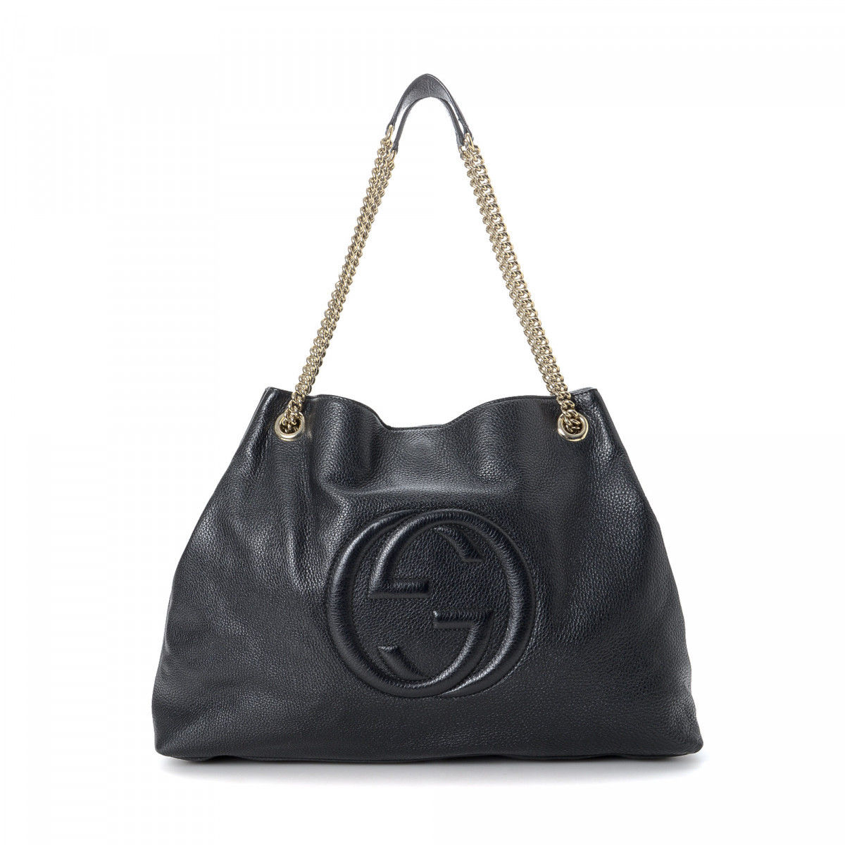 91523aad1a0566 Gucci Soho Chain Shoulder Bag Leather - LXRandCo - Pre-Owned Luxury ...