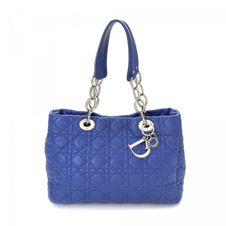 Dior Cannage Chain Small Tote Cannage Blue Leather Totes