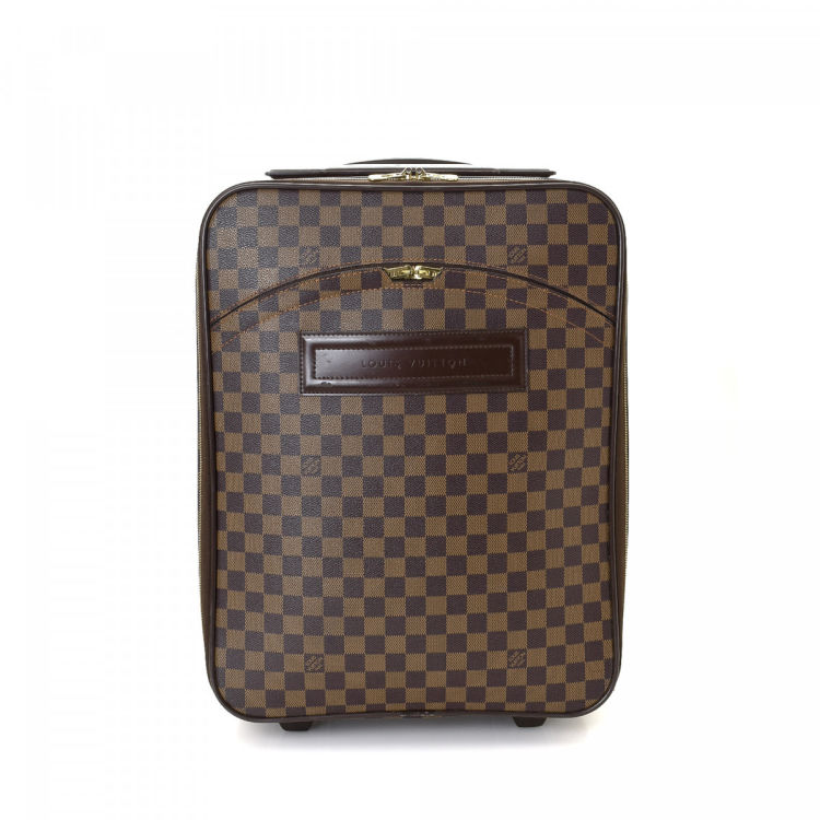 80c99923c LXRandCo guarantees this is an authentic vintage Louis Vuitton Pegase 45  travel bag. This refined weekender in brown is made in damier ebene coated  canvas.