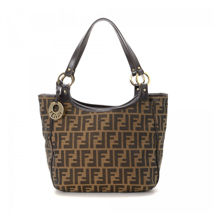 fd8c5d945912 LXRandCo guarantees the authenticity of this vintage Fendi Chef tote. This  classic tote in brown is made in zucca canvas. Due to the vintage nature of  this ...