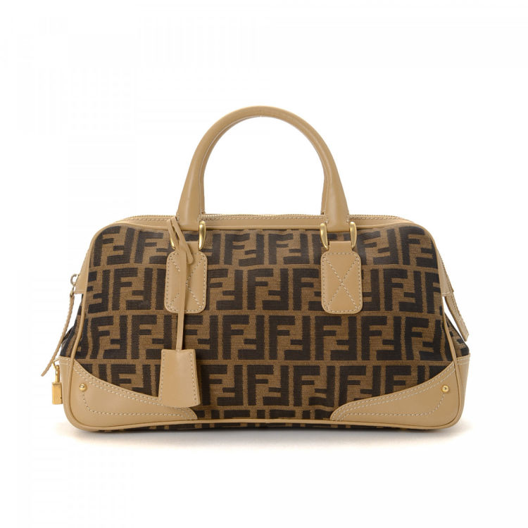 ff1e5ef5a1d6 LXRandCo guarantees this is an authentic vintage Fendi Boston Bag handbag.  This beautiful purse in brown is made in zucca canvas. Due to the vintage  nature ...