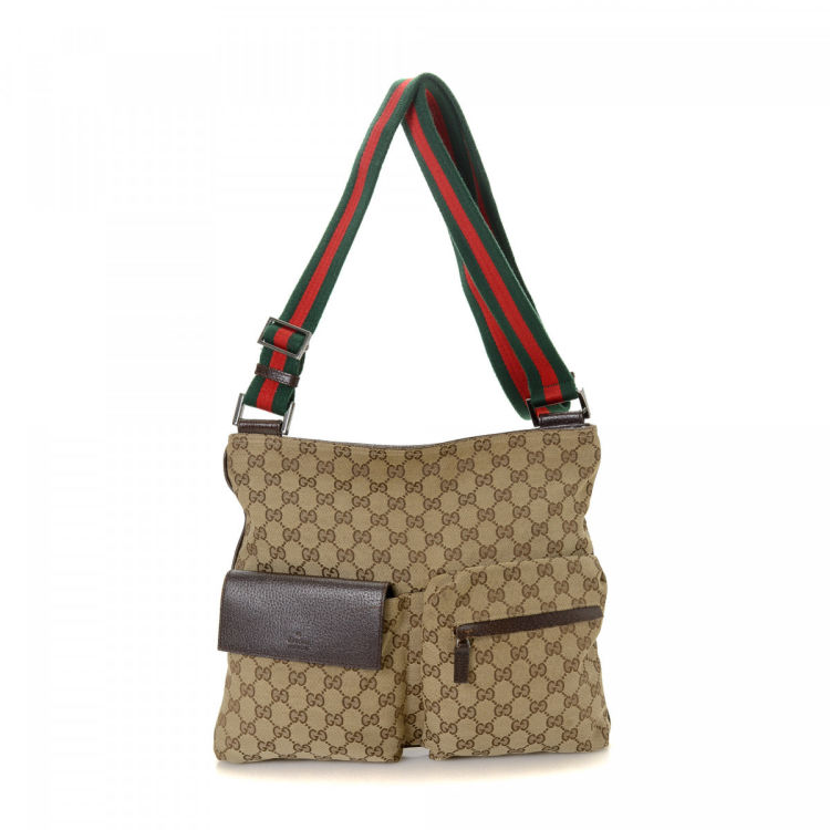 6874d0a0f05be3 Gucci GG Canvas Web Crossbody Bag GG Canvas - LXRandCo - Pre-Owned ...