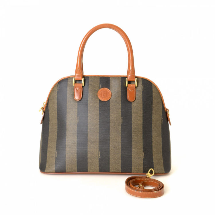 2d1e855a9317 Fendi Pequin Two Way Handbag Pequin Coated Canvas - LXRandCo - Pre ...