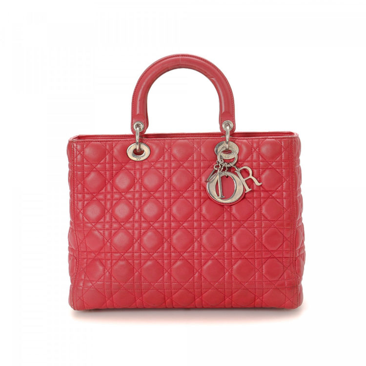 Dior Lady Dior Large Cannage Pink Horsehair and Leather Totes