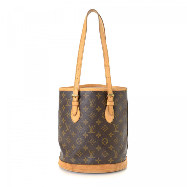 78d8961ecadc The authenticity of this vintage Louis Vuitton Bucket tote is guaranteed by  LXRandCo. This sophisticated work bag was crafted in monogram coated canvas  in ...