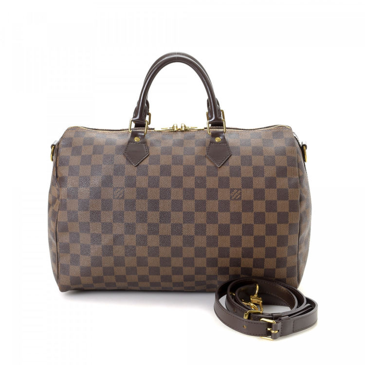 284b71529114 Louis Vuitton Speedy 35 Bandoulière Damier Ebene Coated Canvas ...