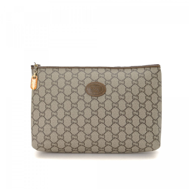9457d81c681e Gucci GG Plus Pouch GG Plus Coated Canvas - LXRandCo - Pre-Owned ...