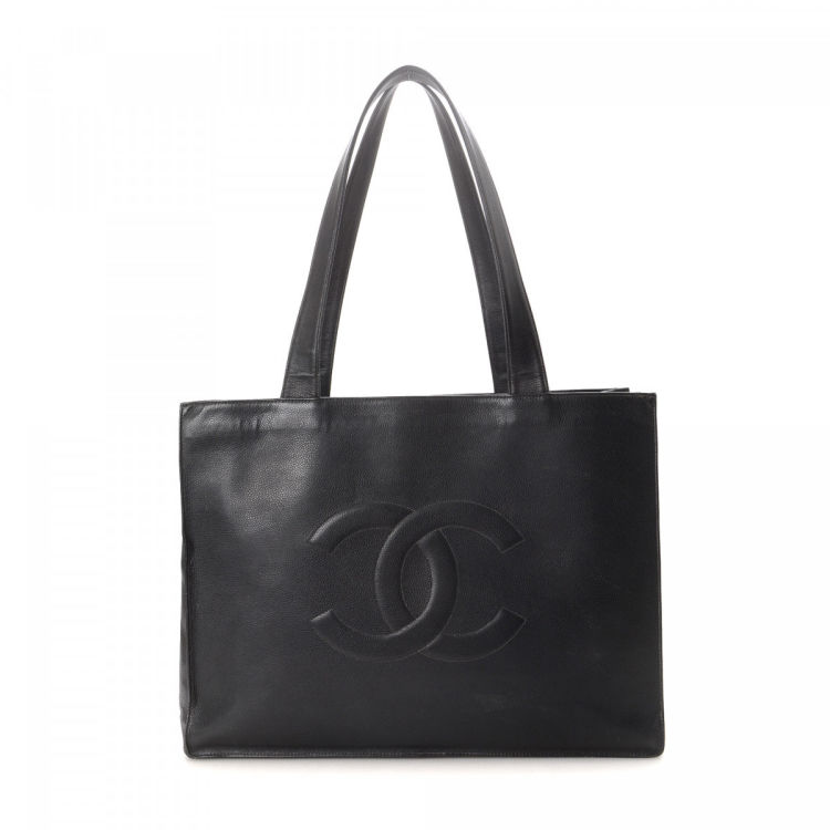 3077ef4450869d LXRandCo guarantees the authenticity of this vintage Chanel tote. This  stylish bag in black is made in caviar calf. Due to the vintage nature of  this ...