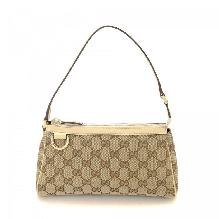 The authenticity of this vintage Gucci Pouch vanity case & pouch is guaranteed by LXRandCo. This chic travel kit was crafted in gg canvas in beige.