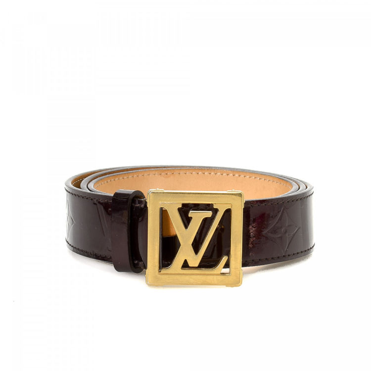 Louis Vuitton Frame Belt Monogram Vernis Amarante Patent leather Belts