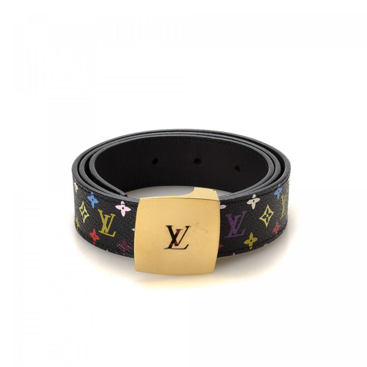 Louis Vuitton Limited Edition Monogram Multicolore Belt Monogram Multicolore Multi Color Coated Canvas Belts