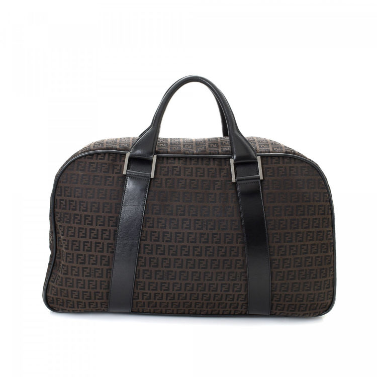 Fendi Zucchino Brown Canvas Travel Bag