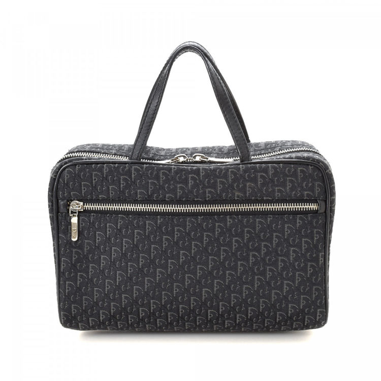 Dior Trotter Vanity Bag Trotter Black Canvas Handbags. There are cracks on the handles glazing