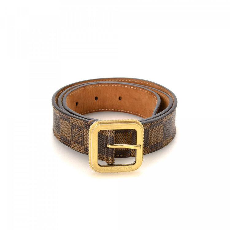 Louis Vuitton Tresor Belt Damier Ebene Brown Coated Canvas Belts