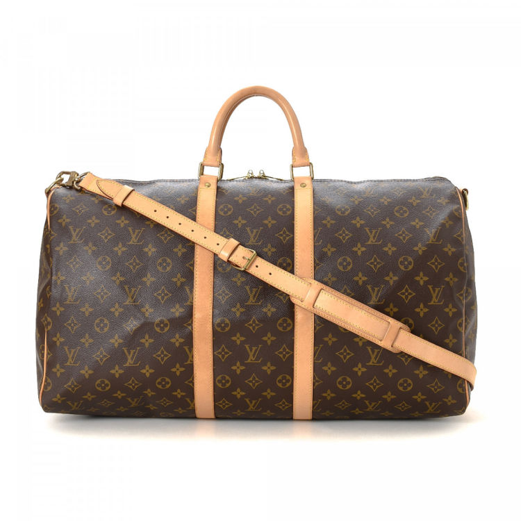 Louis Vuitton Keep-all 55 Bandouliiere Monogram Brown Coated Canvas Travel Bag