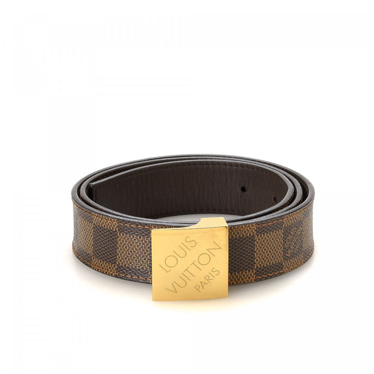 Louis Vuitton Ceinture Carre Belt Damier Ebene Brown Coated Canvas Belts