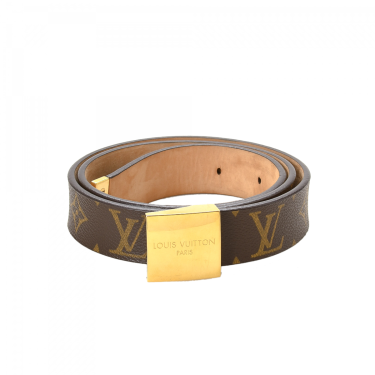 Louis Vuitton San Tulle Belt Monogram Brown Coated Canvas Belts